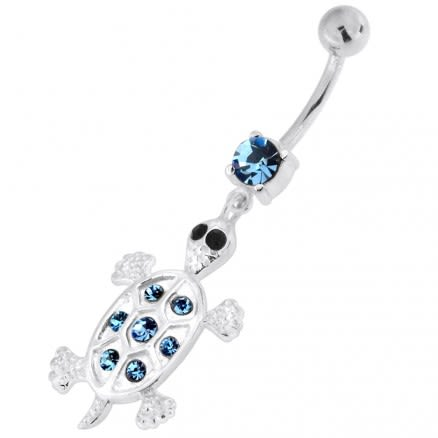 Jeweled Turtle 925 Sterling Silver Navel Belly Piercing
