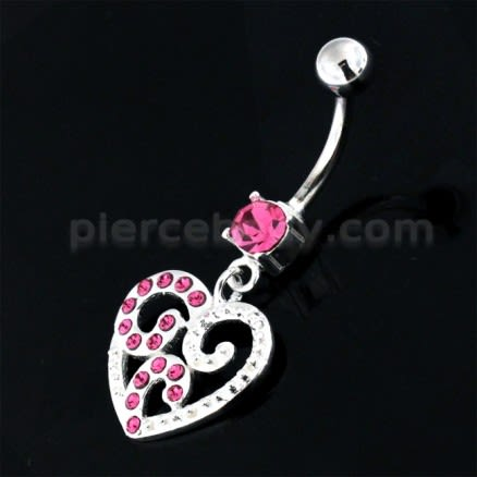 Jeweled Floral Heart 925 Sterling Silver Navel Belly Piercing