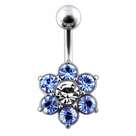 Jeweled Flower Navel Belly Ring