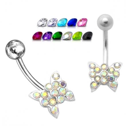 Jewelled Butterfly Non-Moving Belly Ring