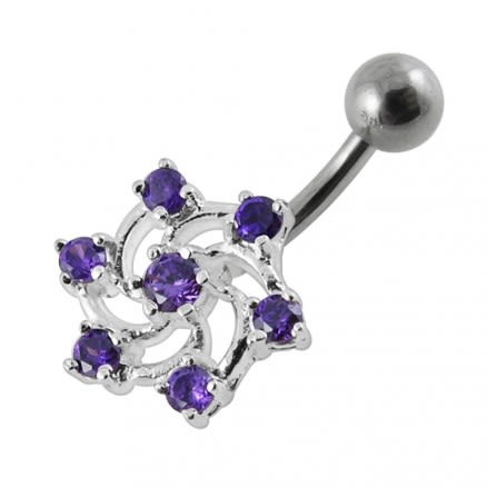Jeweled Cross Non-Moving  Belly Ring