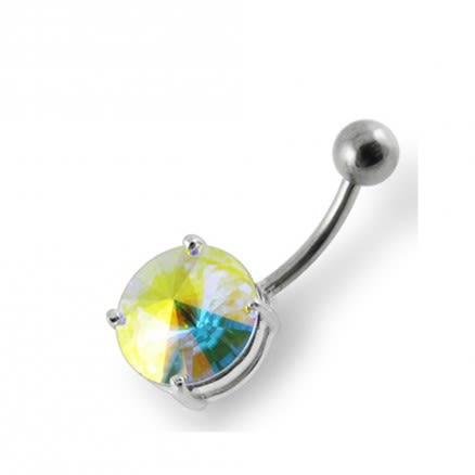 Round Jeweled Non-Moving Belly Ring