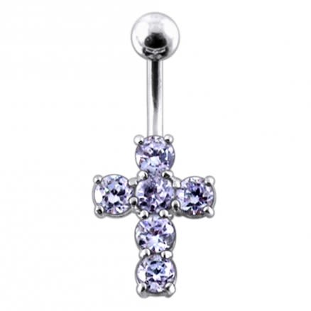 Multi Jeweled Cross Non-Moving Belly Ring