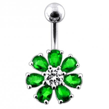Jeweled Flower navel belly Bar