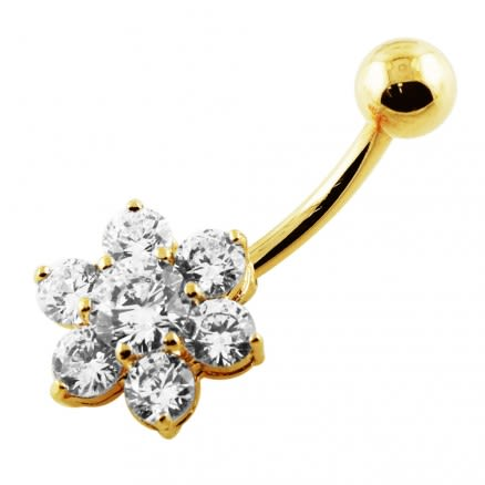 14G 10mm Yellow Gold Plated Silver Clear Jeweled Flower Non-Moving Belly Bar