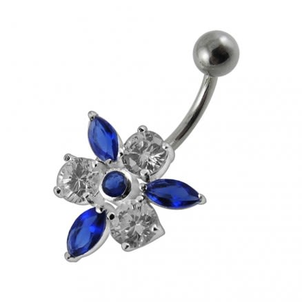 Fancy Jeweled Flower With SS Curved Navel Ring PBN0104