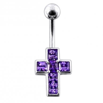 Jeweled Cross Belly Button Ring