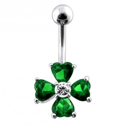 14 Gauge Jeweled Flower Belly Ring with 5mm top ball