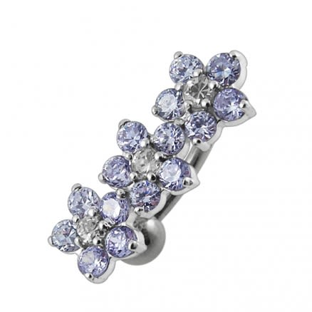 Jeweled Flowers Design Belly Ring