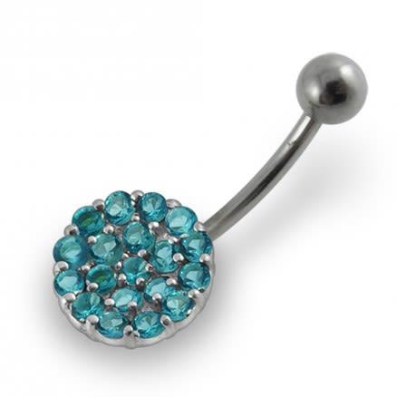 Jeweled Circle Design Navel Ring