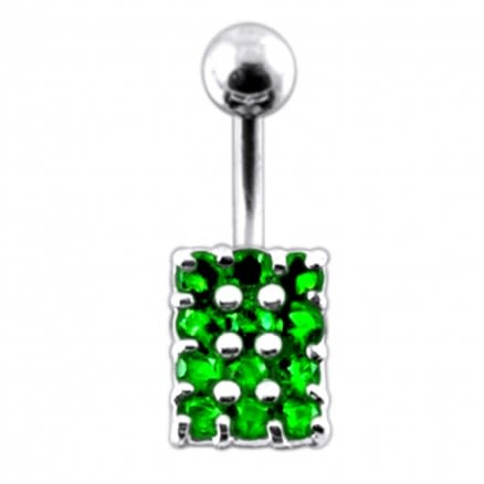 Fancy Multi Gem SS Curved Bar  Belly Button Ring