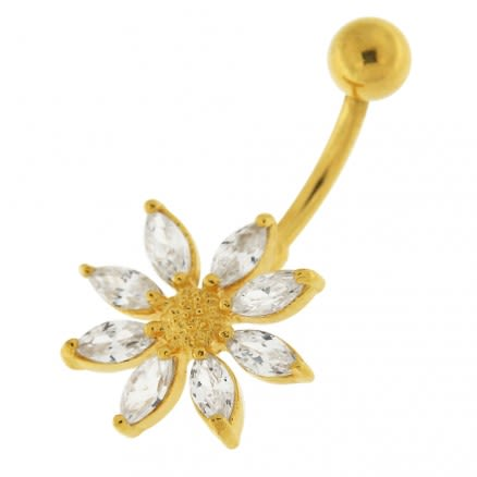 14G 10mm Yellow Gold Plated Silver Clear Jeweled Flower W/ SS Curved Belly Bar