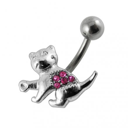 Jeweled Cat Designed Belly Ring