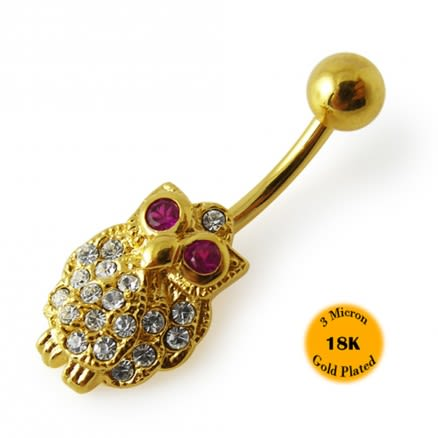14G 10mm Yellow Gold Plated Sterling Silver Clear Jeweled Owl Navel Belly Bar