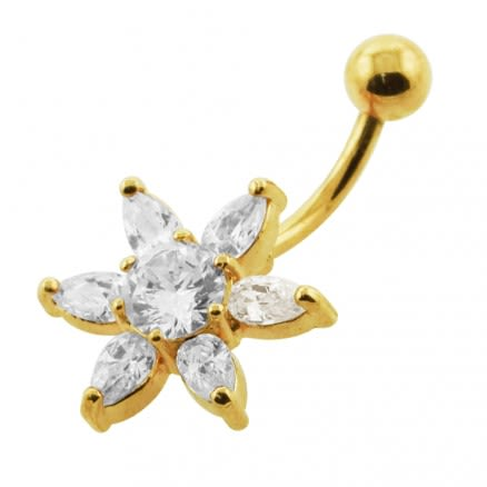 14G 10mm Yellow Gold Plated Sterling Silver Clear Jeweled Star Navel Belly Bar