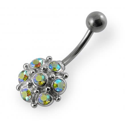 14G Fancy Multi Stone Studded Navel Ring Body jewelry