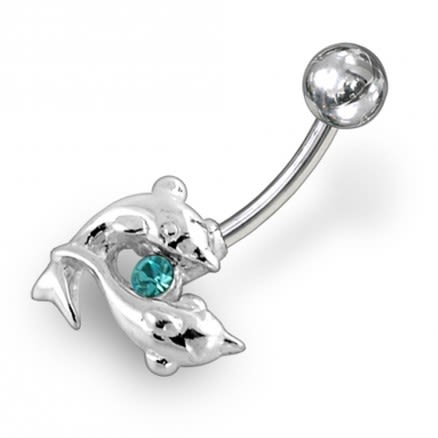 Dolphin Shapped Jeweled Non-Moving Belly Ring