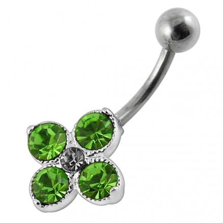 Fancy Multi Stone Banana Bar Navel Body Jewelry