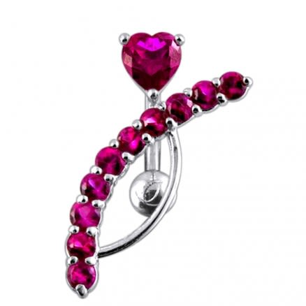 Fancy Heart Jeweled Curved Bar Navel Body Jewelry PBN0368
