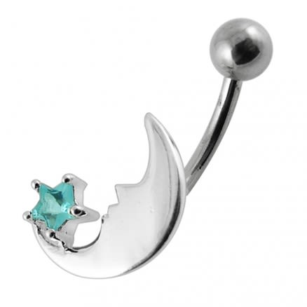 Fancy Moon Star Jeweled Navel Button Ring PBN0371