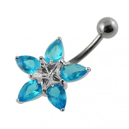 Fancy Pink Jeweled Flower Belly Ring