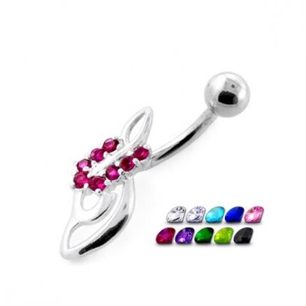 Jeweled Fancy Snail Banana Bar Belly Jewelry ring