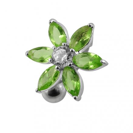 Jeweled Flower Navel Body Ring in Surgical Steel