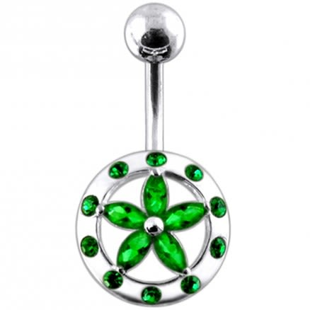 Fancy Star Covered By Jeweled Round SS Curved Navel Ring