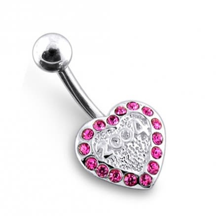 Jeweled Heart Navel Belly Ring