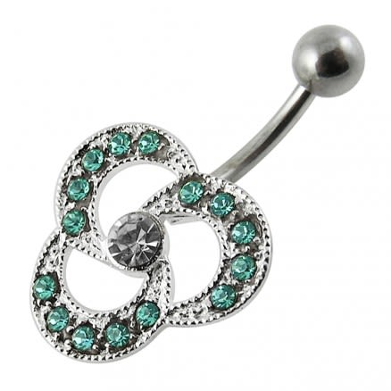 Stainless Steel Body Piercing Fancy Jeweled Belly Navel Ring Assorted Colors