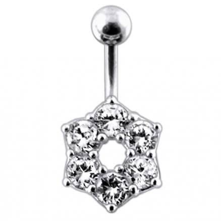 Jeweled Mini Flower  Non-Moving  Belly Ring