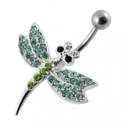 Jeweled Dragonfly 925 Sterling Silver Non-Moving Belly Ring