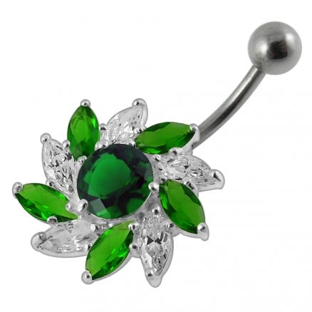 Jeweled Flower Belly Button Ring PBN621