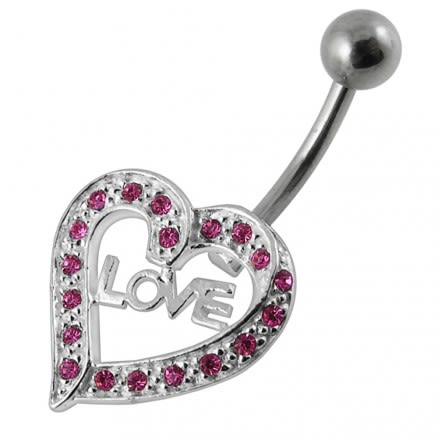 Fancy Jeweled Strip On Silver Heart Navel belly Ring
