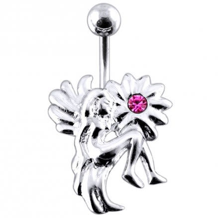 Jeweled Sun with Angel Non-Moving Belly Ring