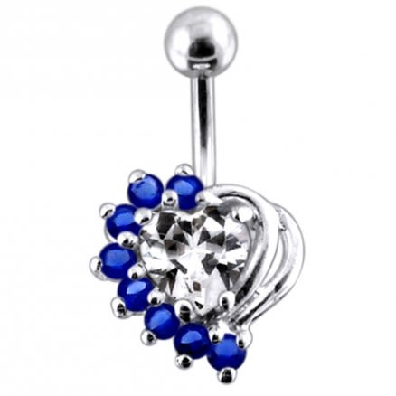 Double Color Jeweled Heart Non-Moving Belly Ring