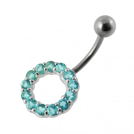 Jeweled Circle Non-Moving Belly Ring