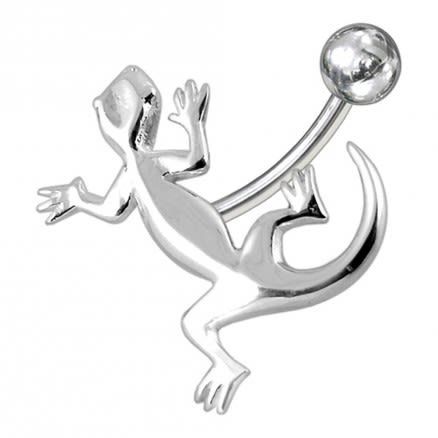 Plain Gecko Below Non-Moving Belly Ring