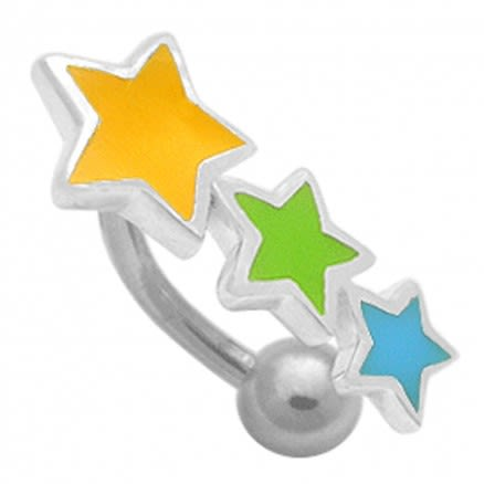Hand Painted Triple Star Non-Moving Belly Ring