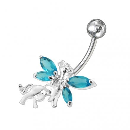 Angel Horse Jewelled Non-Moving  Belly Ring