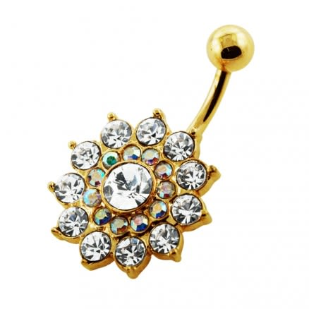 14G 10mm Yellow Gold Plated Clear Angel Multi Layer Flower Non-Moving Belly Bar
