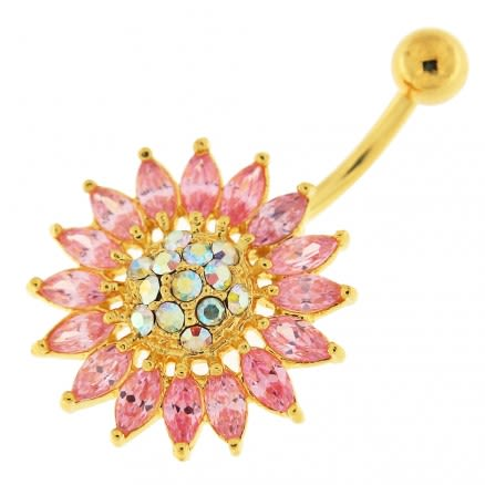 14G 10mm Yellow Gold Plated Silver Pink Jeweled Sun Flower Non-Moving Belly Bar