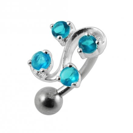Tetra Fancy Mini Jeweled Non-Moving  Belly Ring