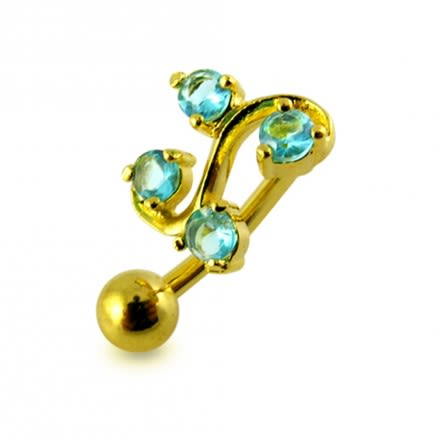 14G 10mm Yellow Gold Plated Silver Aquamarine Jeweled Tetra Fancy Belly Bar