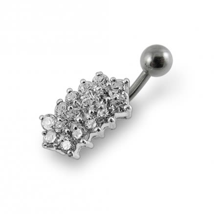 Jeweled Bar  Non-Moving Belly Ring