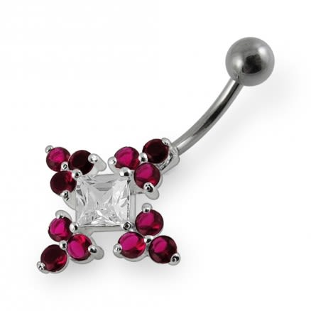 Fantasy Jeweled Cross Non-Moving  Belly Ring