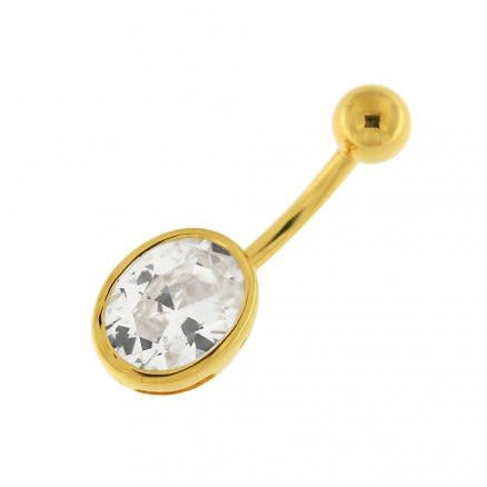14G 10mm Yellow Gold Plated Sterlin Silver Clear Jeweled Single Oval Belly Bar
