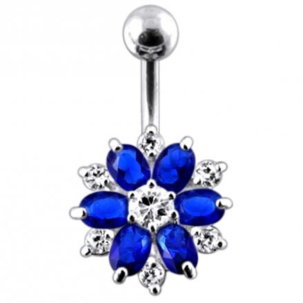 Double Colored Flower Non-Moving  Belly Ring
