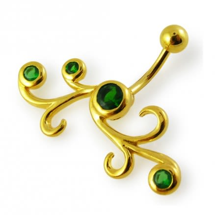 14G 10mm Yellow Gold Plated Sterlin Silver Emerald Jewel Fancy Tribal Belly Bar