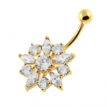 14G 10mm Yellow Gold Plated Sterling Silver Clear Jewel Flower Banana Belly Bar